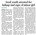 Areal youth arrested for kidnap and rape of minor girl.jpg -