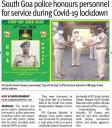 South Goa police honours personnel for service during Covid-19 lockdown.JPG -