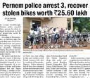 Pernem police arrest 3, recover stolen bikes worth Rs. 25.60 lakh.jpg -